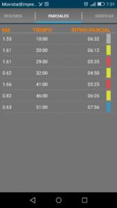 resultado entrenamiento por intervalos app